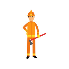 Fireman character in uniform and protective helmet, standing with axe