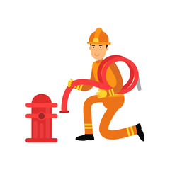 Fireman character in uniform and protective helmet, connecting water hose to fire hydrant