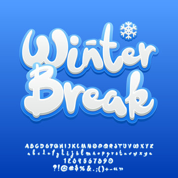 Vector snow white cute text Winter Break. Set of handmade sticker style Alphabet letters, Numbers and Symbols
