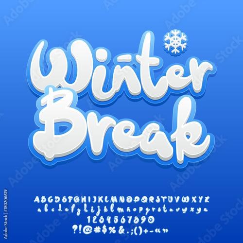 Vector Snow White Cute Text Winter Break Set Of Handmade Sticker