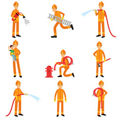 Fireman in uniform and protective helmet doing their job set, vector collection
