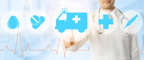 Doctor points at ambulance and emergency icon