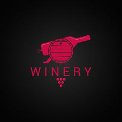 wine bottle and barrel logo. Winery design with wine grape background