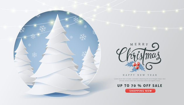 Merry Christmas and Happy New Year sale banner background with paper art and craft style.Glowing lights for Xmas Holiday.Calligraphy.Vector illustration template.greeting cards.