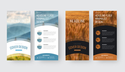 template for the front and back pages of a vector flyer in a minimalistic style with a place for photos