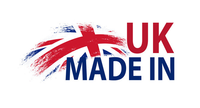 Made in UK. Vector label with grunge flag of United Kingdom and Northern Ireland