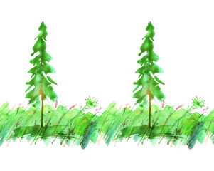 Watercolor illustration. Seamless linear border, pattern with art illustration - fir, pine, tree on green grass, wild flowers, country forest landscape.