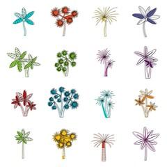 Palm tree icons doodle set