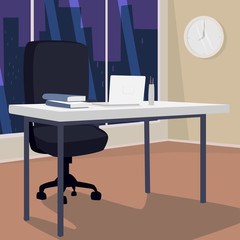 Interior of evening workplace with view of city, office in metropolis. White laptop on desk, next to armchair. Three quarter view. Simplistic realistic comic art style