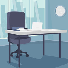 Interior of morning workplace with view of city, office in metropolis. White laptop on desk, next to armchair. Three quarter view. Simplistic realistic comic art style