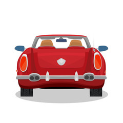 Isolated red car, retro cabriolet on white background with shadow. Rear back view. Simplistic realistic comic art style