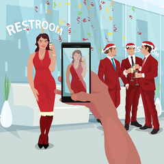 Hand of man at office party makes photo of beautiful girl in red dress on smartphone. Employees celebrate New Year. Corporate concept. Simplified realistic art style