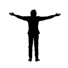 Isolated black silhouette of man with raised open arms outstretched, on white background. Front or back view. Contour outline style
