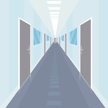 Interior of long and narrow corridor with a lot of doors, in modern office. Front view. Simplistic realistic comic art style