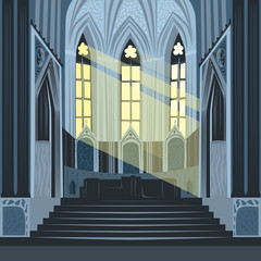 View on altar from nave inside Cathedral Church. Interior of Catholic Basilica with sun rays from windows. Simplified realistic hand draw comic art style