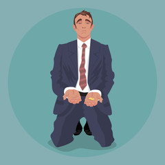 Tired businessman or manager in crumpled suit, kneeling and begging. Dismissal or crisis concept. Simplistic realistic comic art style. Front face view