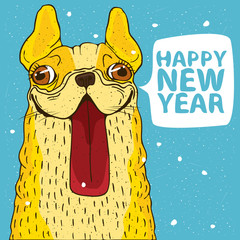 Funny portrait of smiling yellow dog, French bulldog on snow background. Bubble inscription Happy New Year. Sign of the zodiac in 2018 on the Chinese calendar concept