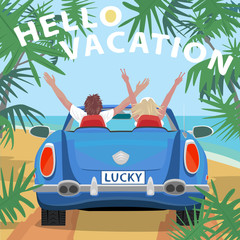 Young couple sitting in retro cabriolet car with raised open arms outstretched, on beach near ocean. Back view. Lettering Hello Vacation. Simplistic realistic style