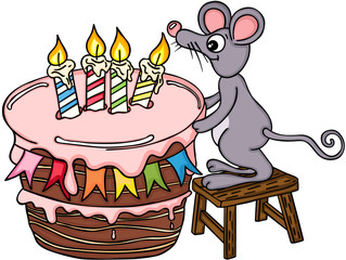 Happy mouse with big birthday cake