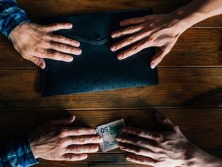 bribe corruption corporate business espionage. illegal deal concept