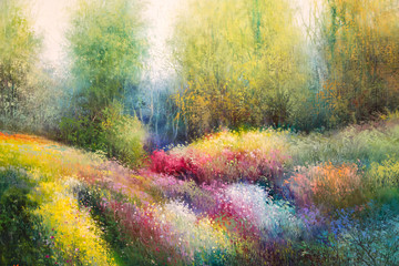 Oil Canvas Painting: Spring Meadow with Colorful Flowers and Tre
