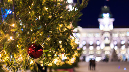 Christmas ball in the square of Trieste