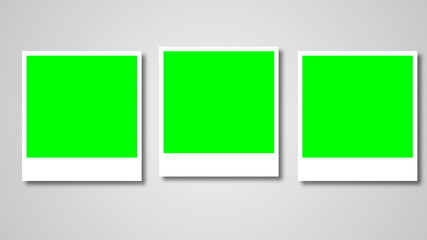 Polaroids frames with green screen for your photo. 3d rendering
