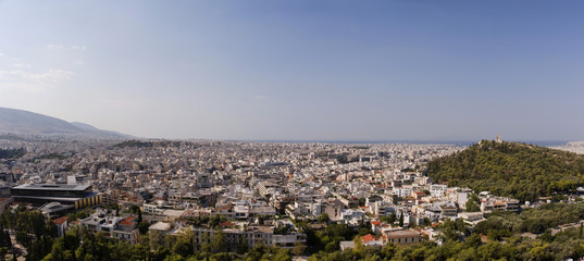 New Acropolis museum Filopappos hill panoram from Acropolis