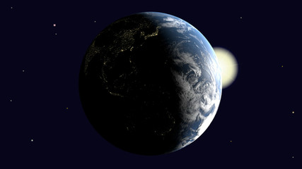 Are visible Oceania and Australia, Southeast Asia and India on earth illuminated by the sun rotates around its axis into space, 3d rendering, elements of image furnished by NASA.