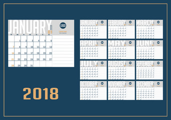 Vector of 2018 new year calendar in clean minimal table simple style and blue and yellow color. Holiday event planner,week starts sunday, A5 size.
