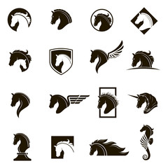 monochrome collection of horse head icons with different manes