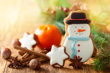 Snowman gingerbread biscuit.