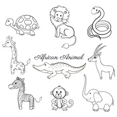 African cartoon animal turtle, giraffe, lion, zebra, crocodile, gazelle, snake, zebra, monkey, elephant isolated on white, Vector doodle illustration line art Character design for greeting cards