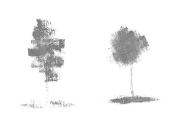 Ink mascara illustrations of trees with natural texture grunge mascara.