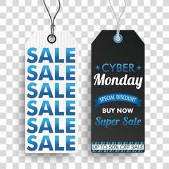 2 Preisschilder für Cyber Monday auf einem transparenten Hintergrund