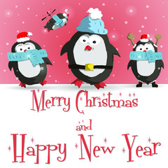 Happy New Year red greeting card with cute four penguins vector illustration
