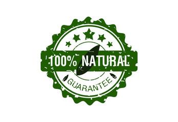 100% nature stamp design logo vector
