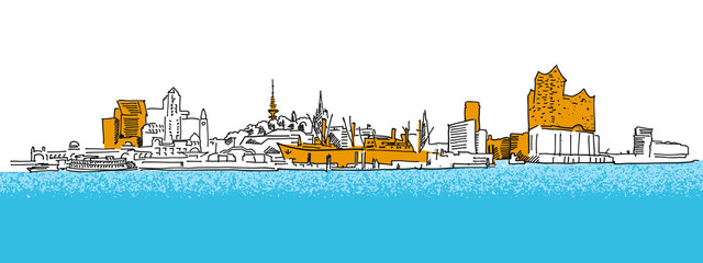 Hamburg Outline Panorama Sketch with colored details