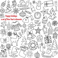 Set of 58 elements of design. The lovely hand-drawn New Year's illustrations.