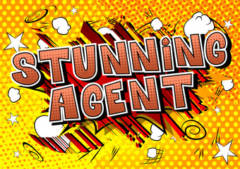 Stunning Agent - Comic book style word on abstract background.