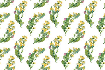 Vintage wild flowers. Seamless pattern with oil painted melilot