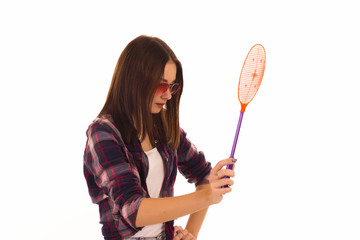 Young cute woman with fly swatter, isolated