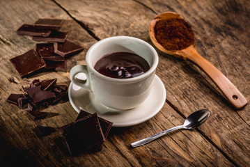 chocolate cup on wooden table with dark chocolate and powder
