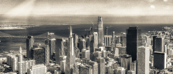 Aerial view of Downtown San Francisco skyline from helicopter, CA