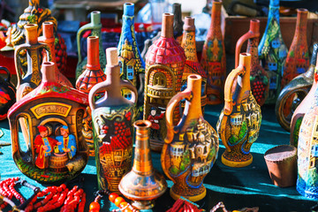 Tbilisi, Georgia - 08 October, 2016: Dry Bridge Flea market in Tbilisi sells tableware set, dishes, souvenir georgian Clay jugs
