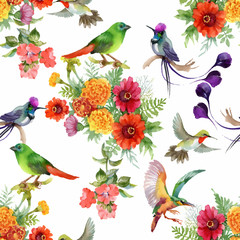 Watercolor hand drawn seamless pattern with beautiful flowers and colorful birds on white background.