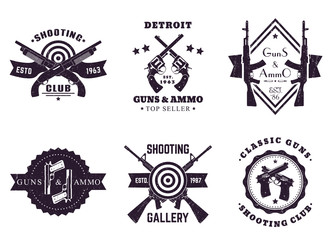 guns and ammo, vintage logos, badges with automatic rifles, crossed revolvers, pistols, shooting gallery logo with assault rifles and shotguns on white