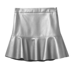 Silver leather skirt with flounce isolated on white