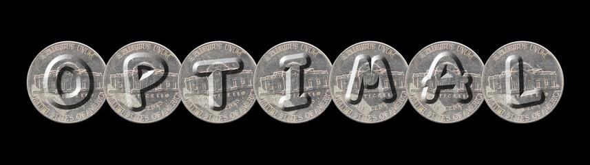 OPTIMAL – Coins on black background