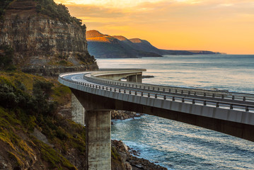 Printed kitchen splashbacks Australia Sunset over the Sea cliff bridge along Australian Pacific ocean